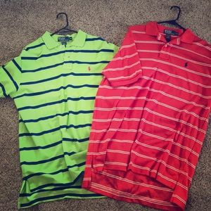 Bundle of 2 Polo shirts - red and lime green - Lg